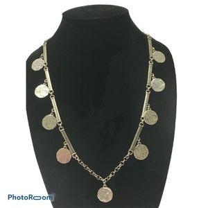 "Lucky Brand Silver coin disc necklace 26"" cosplay"